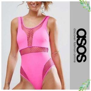 ASOS Hot Pink Oversize Fishnet Insert Swimsuit 14